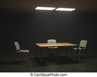 Dark Interrogation Room with Chairs and Table a disturbing Situation