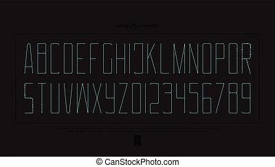 dark intro - minimalist style alphabet letters and numbers....