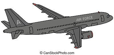 Dark jet - Hand drawing of a dark military transport jet ...