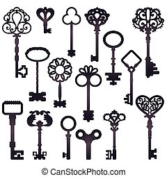 Isolated retro style black on white door and clock keys silhouettes on blank background flat vector illustration