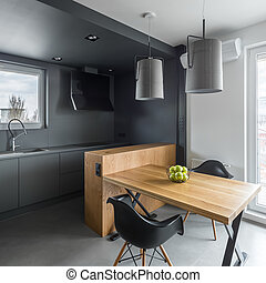 Dark kitchen with island