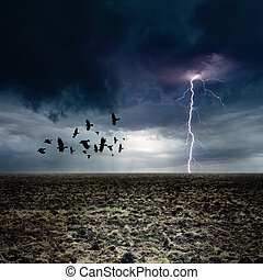 Dark landscape - bright lightning, flock of flying ravens, crows in dark moody sky, farm land