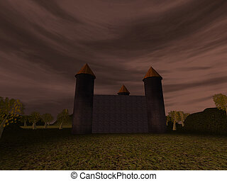 Dark landscape with castle