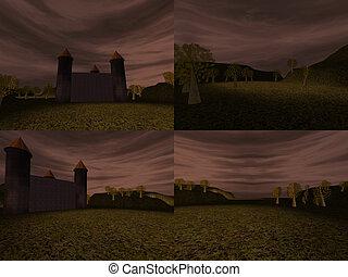 Dark landscape with castle