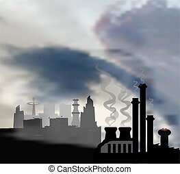Dark landscape with modern panoramic city and chemical factory in the foreground