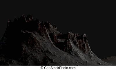Dark landscape with mountains