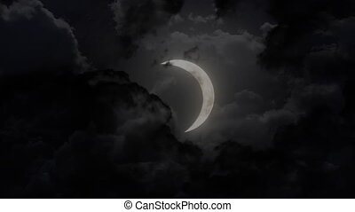 dark large half moon and thunder