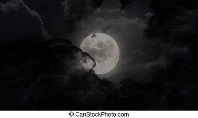 dark large moon and thunder - moon animation