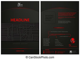 Dark Leaflet Template with Abstract Decoration