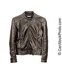 dark leather jacket isolated on white background