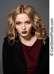 dark lipstick - Attractive fashion girl with dark make-up...