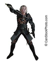 Dark Lord Fighting - Dark knight wearing black armour with...