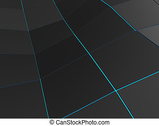 Dark low poly background with blue borders