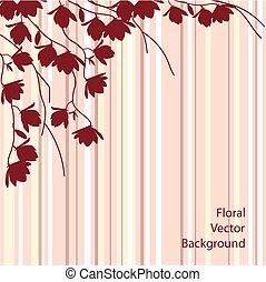 Dark magnolia branches on pink striped background.