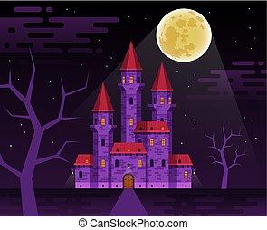 Dark medieval castle in the night