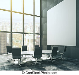 Dark meeting room with blank picture frame and table, mock up