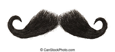 Mustache - Dark Mens Mustache Isolated on White Background.