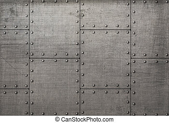 Dark metal plates with rivets background or texture