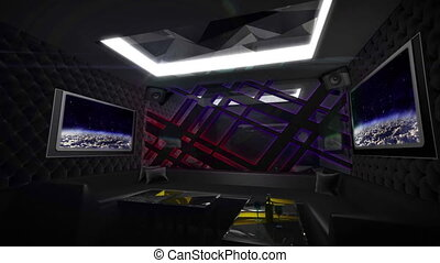 dark metal style with led light mix by 3D rendering