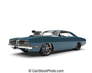 Dark metallic blue American vintage muscle car