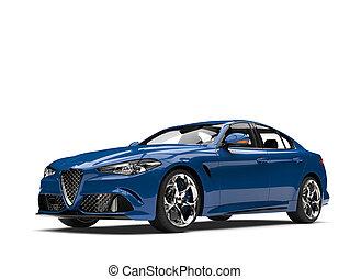 Dark metallic blue modern fast car