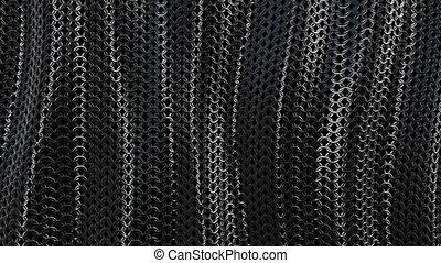 Dark metallic chain armor wave background loop - Dark...