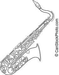 dark monochrome contour brass alto saxophone illustration