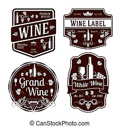 Dark monochrome wine labels of different shapes. Vector