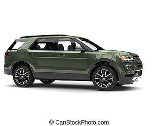 Dark mossy green metallic modern SUV - side view