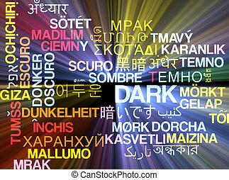 Dark multilanguage wordcloud background concept glowing