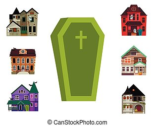 Dark mysterious obscure gloomy terrible witch castle coffin with spooky for Halloween design vector illustration