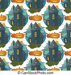 Dark mysterious obscure gloomy terrible witch castle spooky seamless pattern halloween design vector illustration