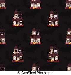 Dark mysterious obscure gloomy terrible witch castle with spooky for Halloween design seamless pattern background vector illustration