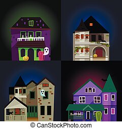 Dark mysterious obscure gloomy terrible witch castle with spooky for Halloween design vector illustration