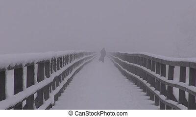 dark mystical morning fog on bridge - dark mystical early...