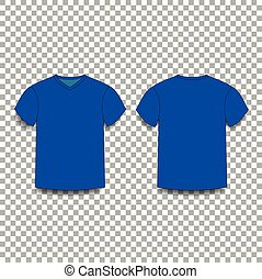 Dark navy blue, men's t-shirt template v-neck front and back side views.