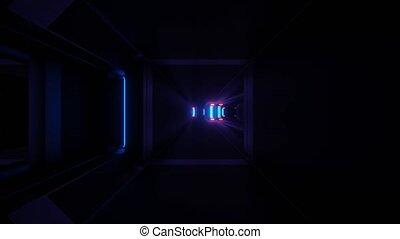 Dark Neon Futuristic Pass way 4k uhd 3d rendering vj loop - ...