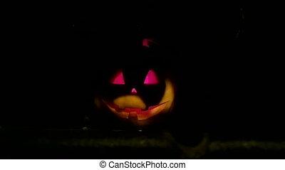Dark night a lantern in the shape o