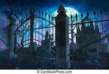 Dark night full moon cemetery background.