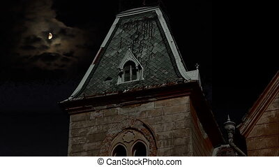 Dark Night Manor - Garret of an old manor at night, with...