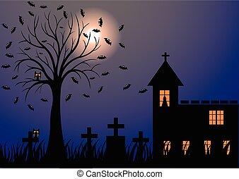 Dark night with moon, bats, trees
