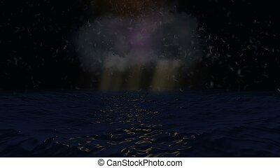 Dark ocean with dreamy feathers and lights background