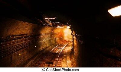 dark old abandoned metro subway tunnel