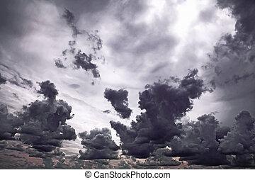 Dark ominous clouds. Dramatic sky background