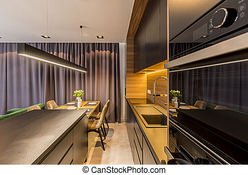 Dark open space interior - Dark kitchen in open space...