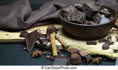 Dark or milk organic chocolate pieces and truffle candies in...