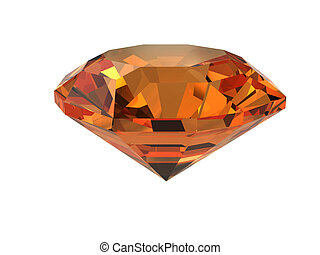 Dark-orange gemstone isolated on white. High resolution 3D...