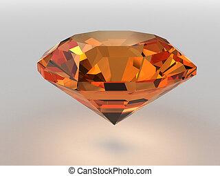 Dark-orange gemstone rendered with soft shadows. High...