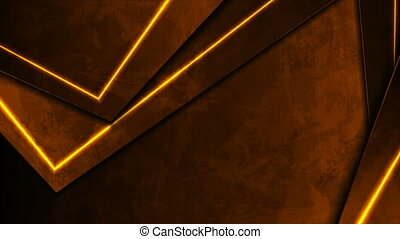 Dark orange neon laser lines. Abstract grunge tech motion design. Old luminous wall concrete texture. Seamless looping. Video animation Ultra HD 4K 3840x2160