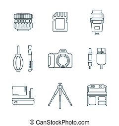 dark outline various digital photography tools icons